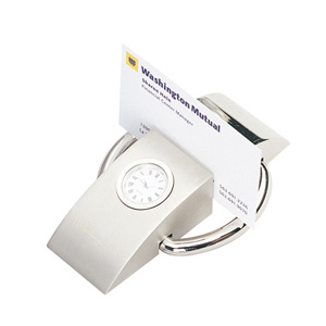 PLATINUM ANALOG CLOCK WITH BUSINESS CARD HOLDER