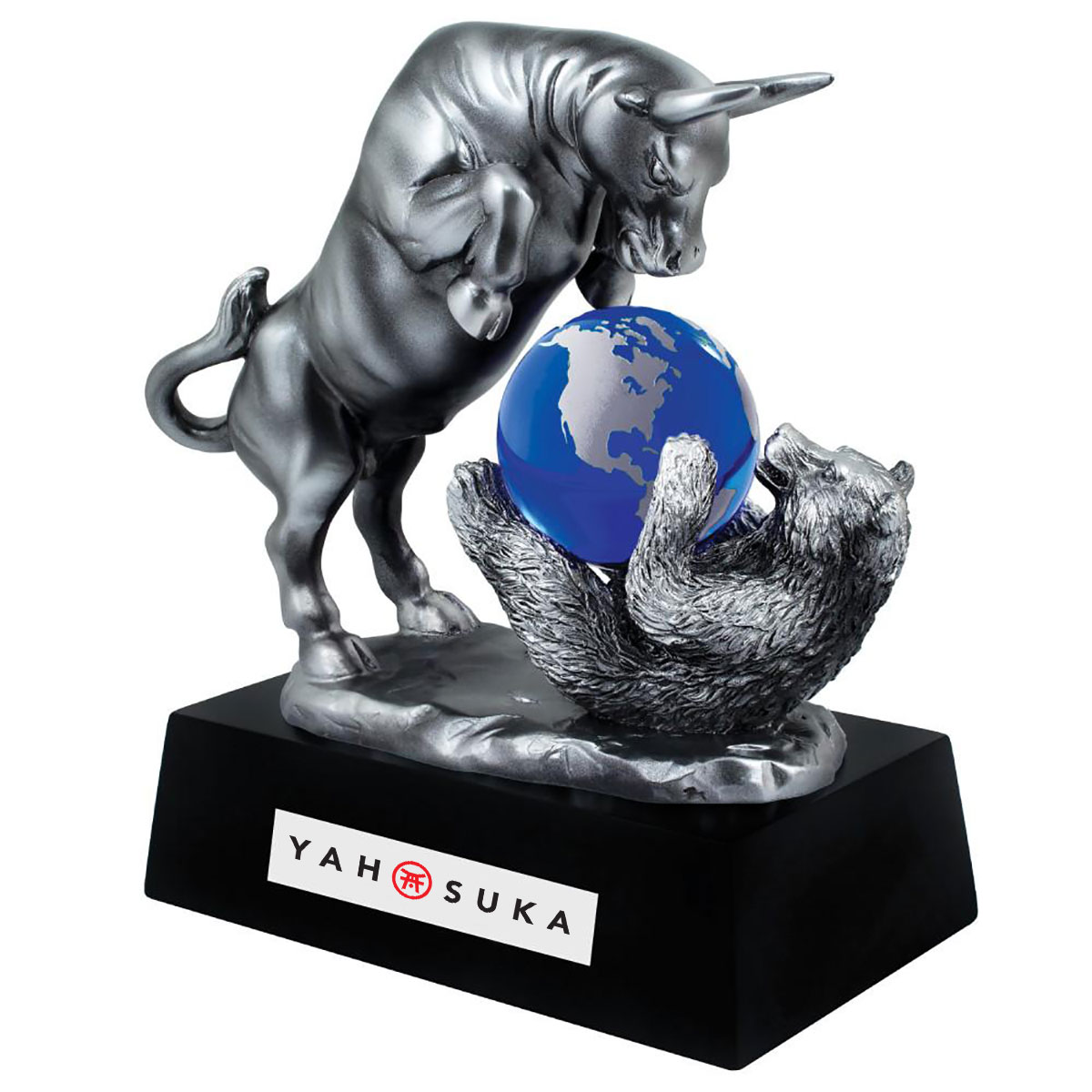BULL AND BEAR W/CRYSTAL GLOBE AWARD