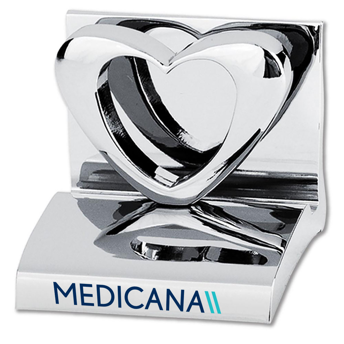 HEART CHROME BUSINESS CARD HOLDER