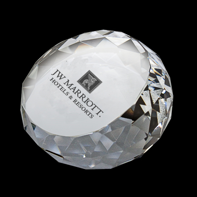 ROUND GLASS CRYSTAL PAPERWEIGHT