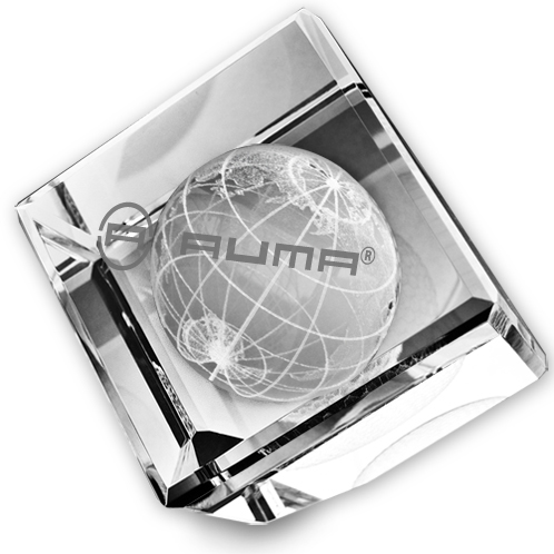3-D GLOBE STANDING GLASS CRYSTAL CUBE PAPERWEIGHT