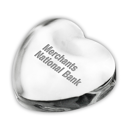SMALL GLASS CRYSTAL HEART PAPERWEIGHT