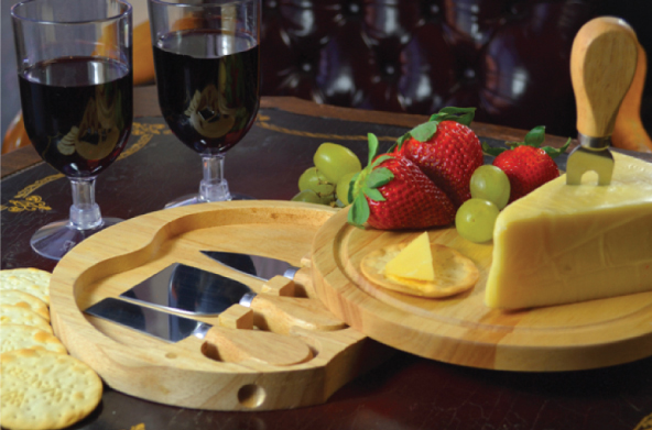 WOOD SWIVEL CHEESE BOARD SET WITH 4 TOOLS