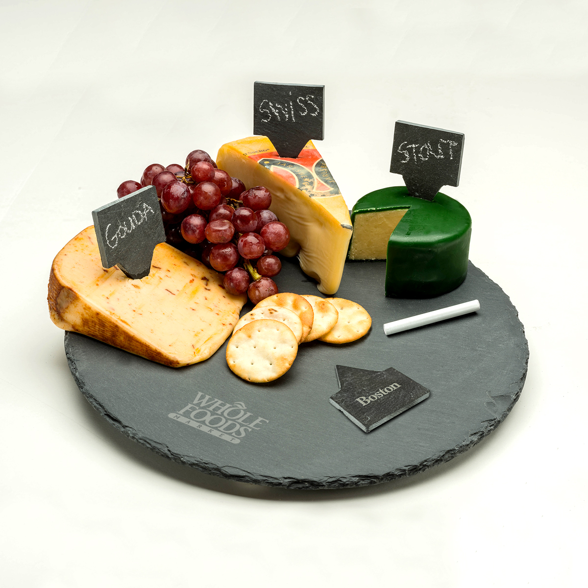 "12"" ROUND 6 PC SLATE SERVING SET"